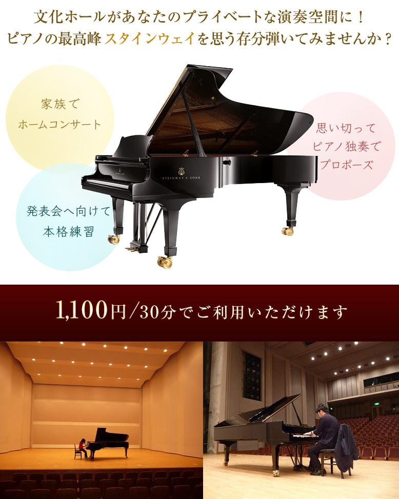文化ホールがあなたのプライベートな演奏空間に!ピアノの最高峰スタインウェイを思う存分弾いてみませんか?